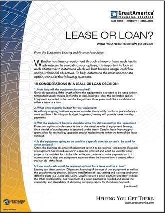 Lease vs Loan Flyer